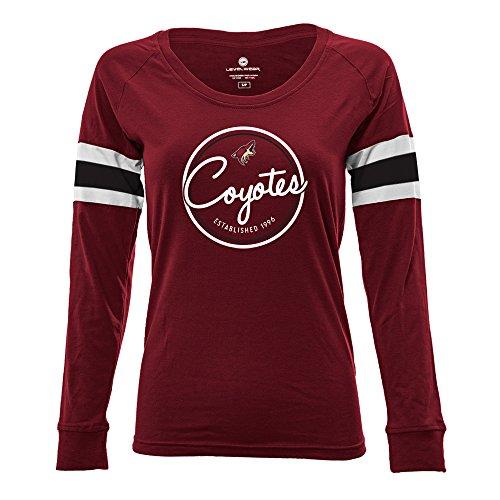 Nhl Womens Long Sleeve - NHL Arizona Coyotes Adult Women Finish Line Tailgate Long sleeve V-Neck Tee, Large, Solid Cardinal/White