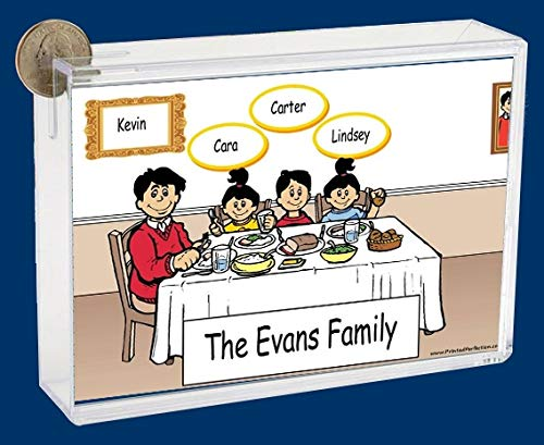 Personalized NTT Cartoon Side Slide Frame Gift: Family Dinner Single Dad 1 boy 2 Girls Gift, Family Gift, Single dad