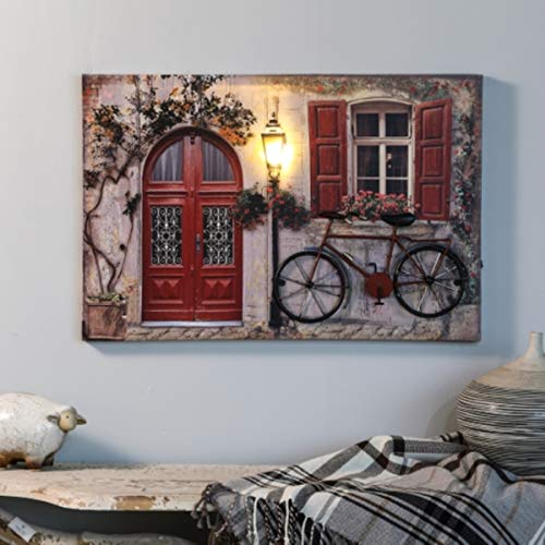 Winsome House Tuscan Cottage and Bike Print with LED Lights