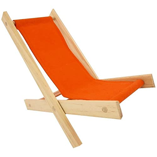 Wooden Toy Folding Lawn Chair With Orange Fabric