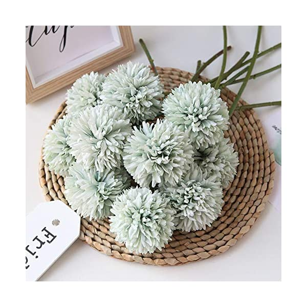 Homyu Artificial Flowers Chrysanthemum Ball Flowers Bouquet 10pcs Present for Important People Glorious Moral for Home Office Coffee House Parties and Wedding No Craft Paper(Light Green)