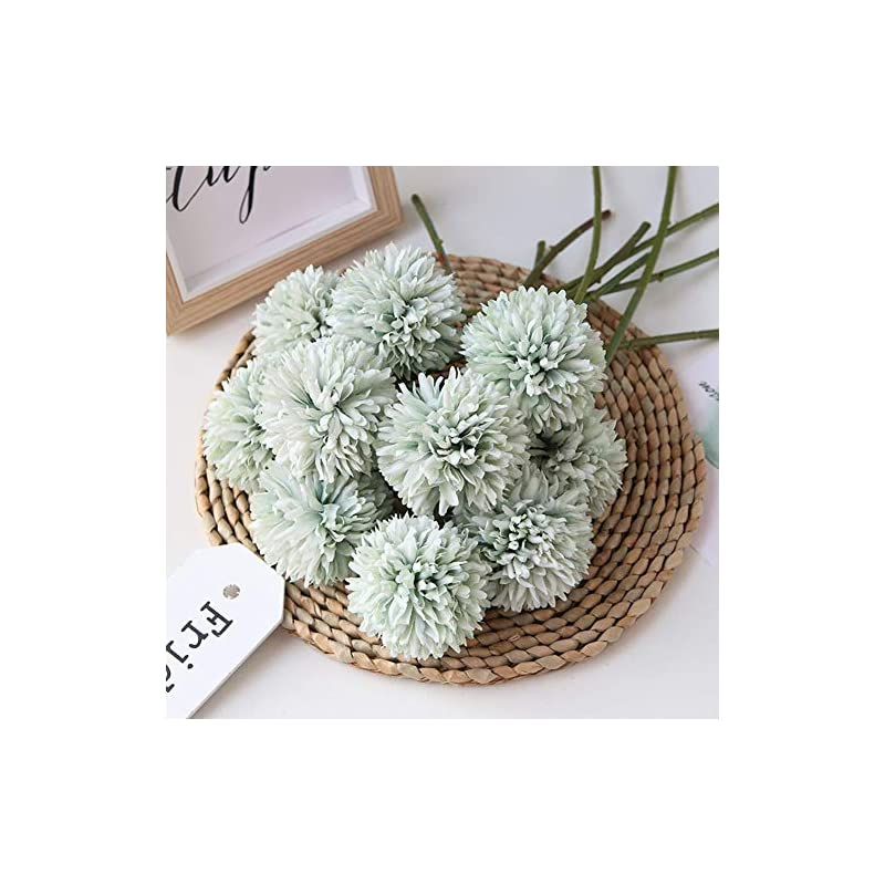 silk flower arrangements homyu artificial flowers chrysanthemum ball flowers bouquet 10pcs present for important people glorious moral for home office coffee house parties and wedding no craft paper(light green)