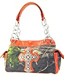 Western Soft Camo Print Rhinestone Cross Satchel Bag Shoulder Purse (Orange)