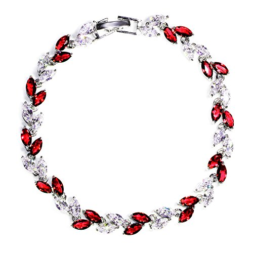 Crystal Silver Tennis Bracelets - Me&Hz Womens Red Crystal Bracelets Swarovski Garnet and Silver Crystal Tennis Thin Bridal Bracelets for Girls