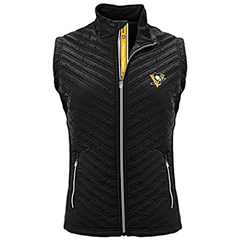 Levelwear NHL Women's Transition Pittsburgh Penguins Hockey Team Script Vest, Black - Small - Pittsburgh Penguins Jacket