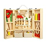 Toy Storage,Building Blocks Set Wooden Puzzles with Screwdriver Wooden House Toolbox Children's Puzzle Toys Boys and Girls Gifts Game (Boens)