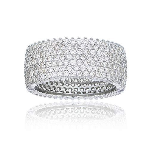 Decadence Sterling Silver 7 Row Pave Milgrain Cubic Zirconia Eternity Band Ring, Silver, 15 by Decadence