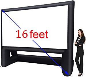 XHYCPY 16' Inflatable Outdoor Projector Movie Screen - Package with Rope, Blower + Tent Stakes - Great for Outdoor Backyard Pool Fun (16 feet)