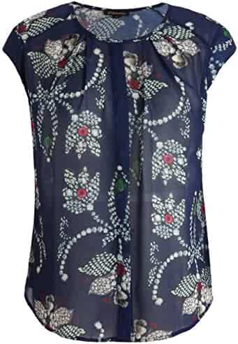630b6daa Chicwe Women's Plus Size Floral Printed Top with Neck Pleats - Casual and  Work Blouse