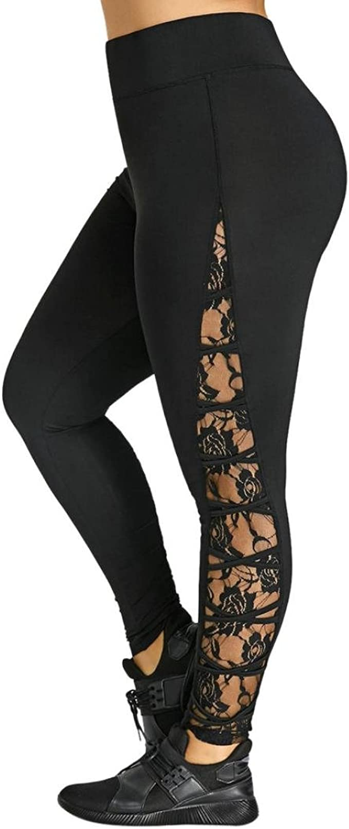 Amazon.com: E-Scenery - Leggings de encaje de cintura alta ...