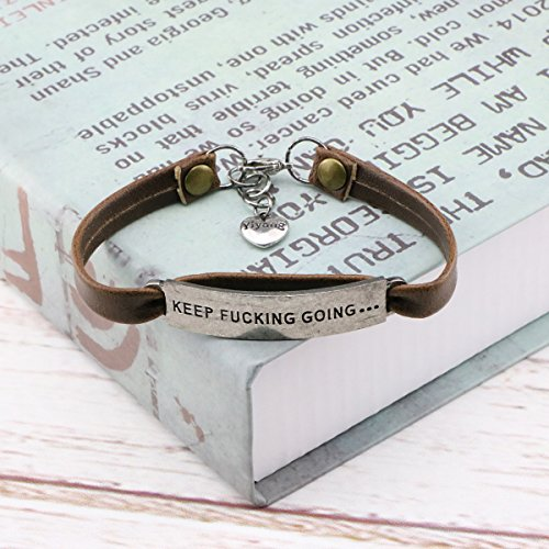 UNQJRY Leather Bracelets for Friends Inspirational Engraved Personalized Gift Jewelry Keep Fucking Going by UNQJRY (Image #3)