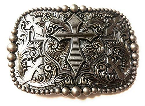 Pewter Belt Buckle Cross - SuperGifts ✖ Beautiful Antique Silver color Cross Square rounded edges 5 crosses ✖ Belt Buckle Buck ✖ USA