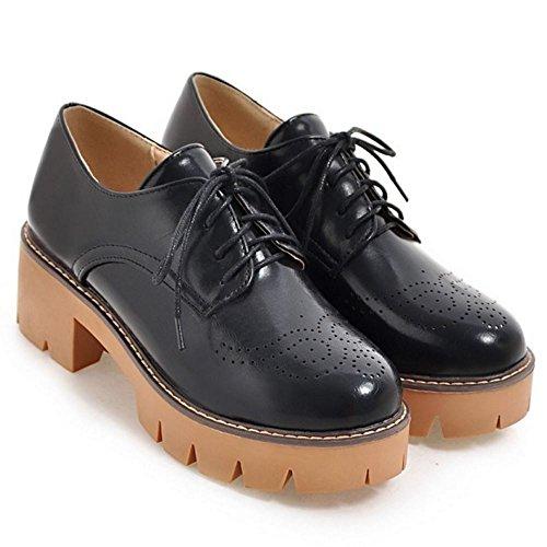 COOLCEPT Zapatos Moda Cordones Dedo Del Pie Cerrado Bombas Zapato Tacon Ancho Chicas Colegio Zapatos Mujer Negro