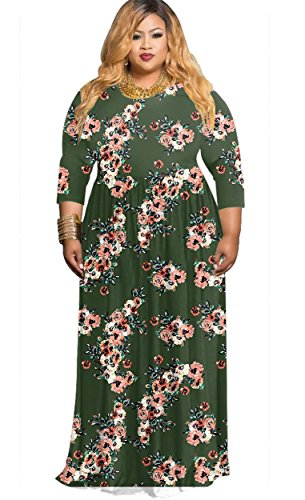 HPLY Women Casual Dresses 3/4 Sleeve Plus Size Printed Round Neck Fold Dress Army green/3XL by HPLY