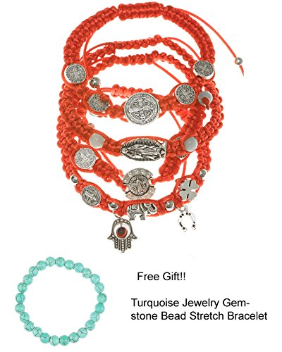 RufNTop Lucky Red String Braided Bracelets and Ancient Silver Tone, 8 inch, Blessing, Hand-made(ALL MIX Pack of 4 PCS)