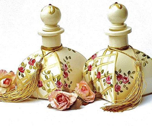 Romantic Large Victorian Glass Perfume Bottle with Painted Pink Roses Stopper Cap Unique Gift for Women