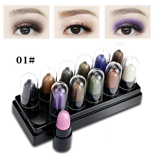 Price comparison product image DZT1968 Women 1 box 12pcs Portable Makeup Eyeshadow Shimmer Matt Stick Sets Waterproof Cosmetics (A)