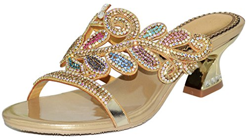 YooPrettyz Spring Leaf Patterned Leather Heeled Sandal Asymmetrical Slid Dress Low Heels Gold (Asymmetrical Leather Sandals)