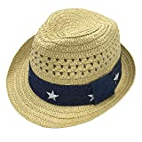 Infants Toddlers Staw Fedora Hat Summer Sun Hat Unisex Beach Outdoor Panama Hat 54cm 7-10Y Beige
