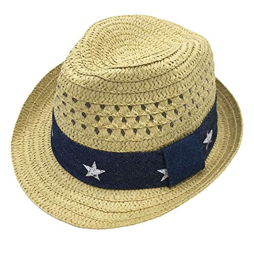 Infants Toddlers Staw Fedora Hat Summer Sun Hat Girls Beach Outdoor Panama Hat 52cm 3-6Y Beige]()