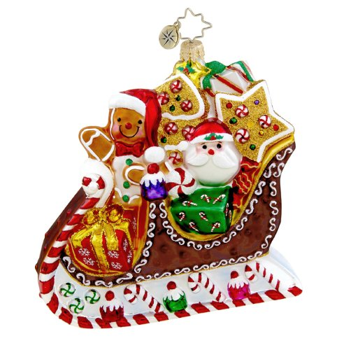 Christopher Radko Glass Sleightime Sweets Santa Christmas Ornament #1015430