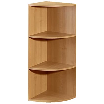 Corner Closet Organizer Bookcase Cabinet Bookshelf Rack Modular 3 Shelf  System (Maple)