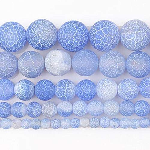 Calvas 4-12mm Round Deep Blue Crackle Dream Fire Dragon Veins Carnelian Agates Stone Beads for Jewelry Making Beads 15'' DIY Beads - (Item Diameter: 12mm)