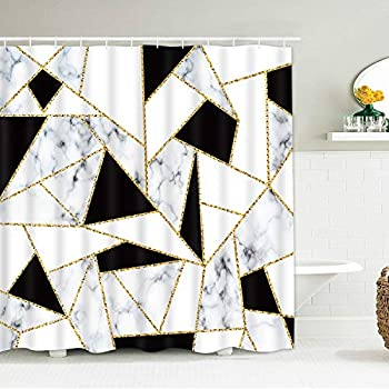 Smurfs Yingda Abstract Geometric Shower Curtains Marble Texture Black and White Durable Waterproof Bath Curtain with 12 Hooks