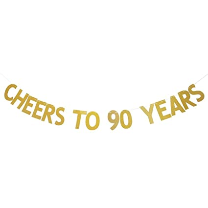 SWEETTALA Cheers To 90 Years Banner Gold Glitter For 90th Birthday Wedding Anniversary Party Decorations Supplies