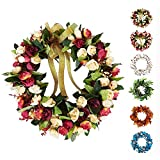 Baigio Woman 14inch Flower Wreath Handmade Artificial Floral Silk Wreath for Front Door Home Wall Wedding Decoration