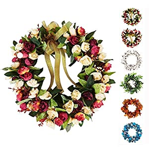 Baigio Woman Flower Wreath Handmade Artificial Floral Silk Wreath for Front Door Home Wall Wedding Decoration 2