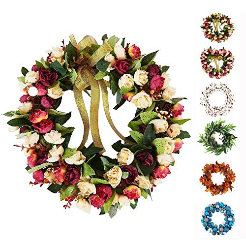 Baigio Woman 14inch Flower Wreath Handmade Artificial Floral Silk Wreath for Front Door Home Wall Wedding Decoration -