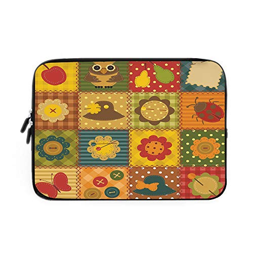 Cabin Decor Laptop Sleeve Bag,Neoprene Sleeve Case/Cute Nature Themed Figures Owl Ladybug Flower Hat Butterfly Patchwork Image/for Apple MacBook Air Samsung Google Acer HP DELL Lenovo AsusMul