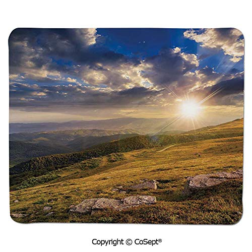 Mouse Pad,Mountain Hills Landscape with Bright Sun Lights