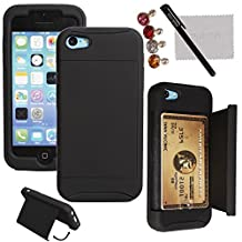 xhorizon® Hard/Soft Heavy Duty Hybrid Credit Card Wallet Case Cover For iPhone 4 4s Black