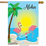 ShineSnow Summer Flamingo Bird Aloha Palm Tree Yellow Green House Flag 28'' x 40'' Double Sided, Colorful Blue Polyester Welcome Yard Garden Flag Banners for Patio Lawn Home Outdoor Decor