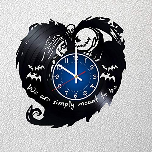 Nightmare Before Christmas Jack and Sally Love Art 12 inches / 30 cm Vinyl Record Wall Clock | Fan Gift | Nightmare Before Christmas Clock | Children's Room Decor Idea Home Art Party | Christmas Art]()