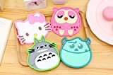 Adorable Coasters - Set of 4 - Good Grip, Stain Free, Silicone Coasters - 4-4.5 inches Coasters (Hello Kitty, Totoro, Sulley ) by Everyday-Deal