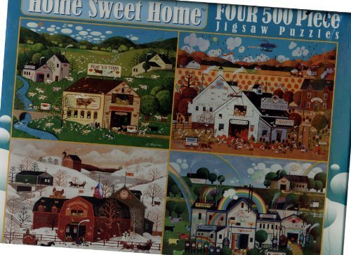 Roger Nannini Home Sweet Home - Four 500 Piece Puzzles Including 1) Milky Way Farms, 2) Pop's Pumpkin Patch, 3) Sunny Farm Winter and 4) Rainbow Works by Ceaco