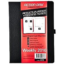 Action Day Thread-Bound 2016 Jan-Dec Calendar Planner Journal,  8 X 11-Inch, Black (AD2)
