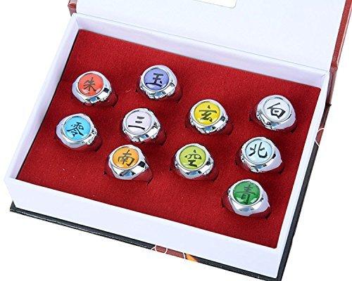 Coz Place Set of 10 Pieces Naruto Cosplay Uchiha Itachi Akatsuki Member Ring Set