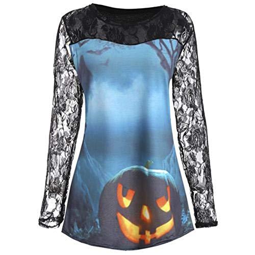 TWGONE Womens Tops Halloween Pumpkin Design T-Shirt Blouse Lace Insert Shirt (US-6/CN-XL,Blue)