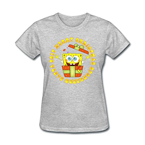 DIY Women 2017 SpongeBob Santa 100% Cotton Short Sleeve Tee Shirt Grey M Costume