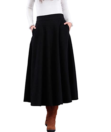 Femirah Women's Winter Long Wool Skirt Maxi A line Skirt (Waist 66.5cm/26.1