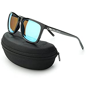 IALUKU Wayfarer Sunglasses Polarized Women Men Mirrored UV400 Full Frame (Black/Blue, 60)