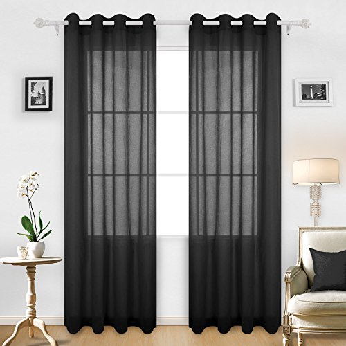 Deconovo Solid Color Linen Look Transparent Curtain Panels Sheer Curtain Panels for Boys Room 52W x 95L Black 2 - Transparent Transparent Black