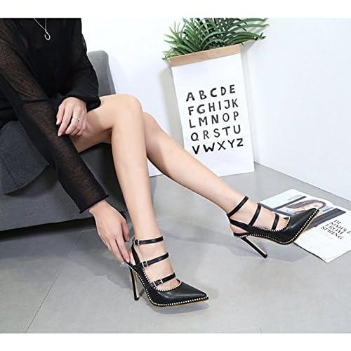 Chic KHSKX-Correas Cruzadas 8.5 Cm Zapatos Negros Zapatos De Punta  Superficial Boca Todos Coinciden 7ac5bf2ccfbff