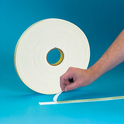 """3M Double Coated Urethane Foam Tape 4008 Off-White, 1/8"""" Thick, 36 yd Length, 1/2"""" Width"""