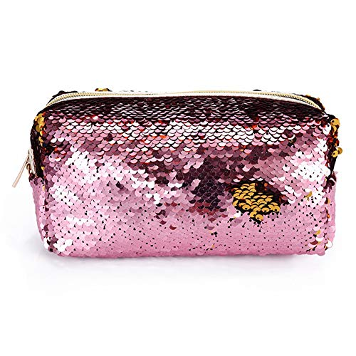 Starte Mermaid Sequin Cosmetic Bag Magic Sequins Color Changing Makeup Bags DIY Reversible Sequins Handbag Glitter Pencil Case(Pink+Gold) ()