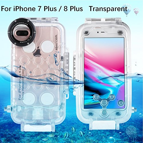HAWEEL iPhone 7 Plus/ 8 Plus Underwater Housing Professional [40m/130ft] Diving Protective Case for Diving Surfing Swimming Snorkeling Photo Video with Lanyard (iPhone 7plus/ 8plus, Transparent)